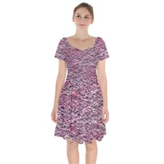 Leaves Pink Background Texture Short Sleeve Bardot Dress by Nexatart