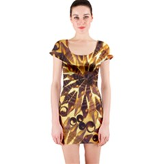 Mussels Lamp Star Pattern Short Sleeve Bodycon Dress