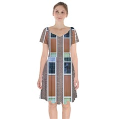 Pattern Symmetry Line Windows Short Sleeve Bardot Dress