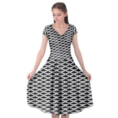 Expanded Metal Facade Background Cap Sleeve Wrap Front Dress