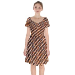 Dirty Pattern Roof Texture Short Sleeve Bardot Dress by Nexatart