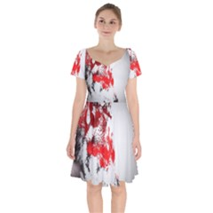 Red Black Wolf Stamp Background Short Sleeve Bardot Dress