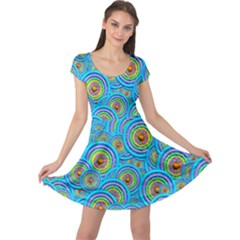 Digital Art Circle About Colorful Cap Sleeve Dresses