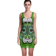 Fractal Art Green Pattern Design Sleeveless Bodycon Dress