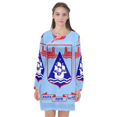 Flag Of Haifa Long Sleeve Chiffon Shift Dress  by abbeyz71