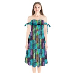 Abstract Square Wall Shoulder Tie Bardot Midi Dress by Costasonlineshop