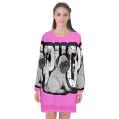 Pug Long Sleeve Chiffon Shift Dress  by Valentinaart