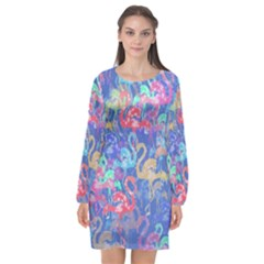 Flamingo Pattern Long Sleeve Chiffon Shift Dress  by Valentinaart