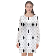 Black White Hexagon Dots Long Sleeve Chiffon Shift Dress  by Mariart