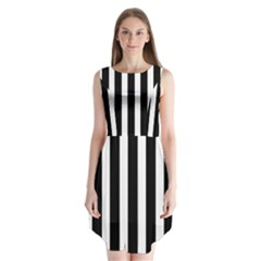 Black White Line Vertical Sleeveless Chiffon Dress   by Mariart