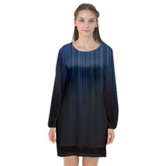 Black Blue Line Vertical Space Sky Long Sleeve Chiffon Shift Dress
