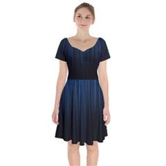Black Blue Line Vertical Space Sky Short Sleeve Bardot Dress by Mariart