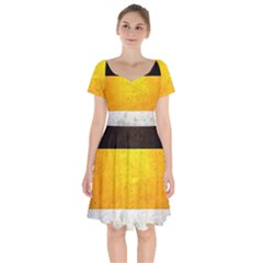 Wooden Board Yellow White Black Short Sleeve Bardot Dress by Mariart