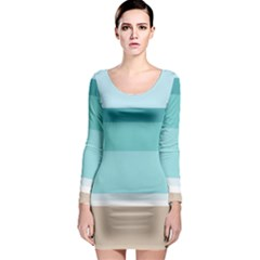 Dachis Beach Line Blue Water Long Sleeve Bodycon Dress by Mariart
