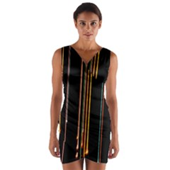Fallen Christmas Lights And Light Trails Wrap Front Bodycon Dress by Mariart