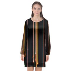 Fallen Christmas Lights And Light Trails Long Sleeve Chiffon Shift Dress  by Mariart