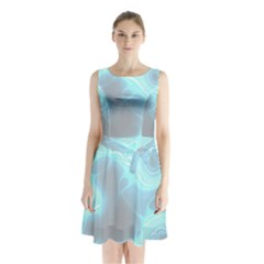Blue Patterned Aurora Space Sleeveless Waist Tie Chiffon Dress by Mariart