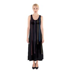 Falling Light Lines Perfection Graphic Colorful Sleeveless Maxi Dress