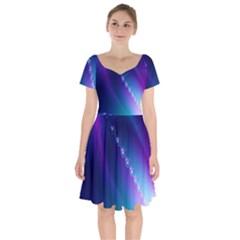 Flow Blue Pink High Definition Short Sleeve Bardot Dress