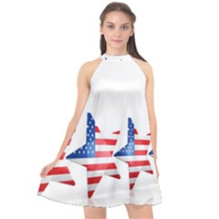 Multiple Us Flag Stars Line Slide Halter Neckline Chiffon Dress  by Mariart