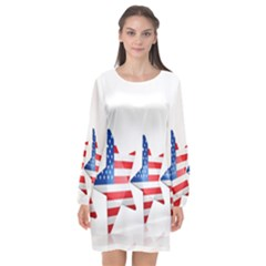 Multiple Us Flag Stars Line Slide Long Sleeve Chiffon Shift Dress  by Mariart