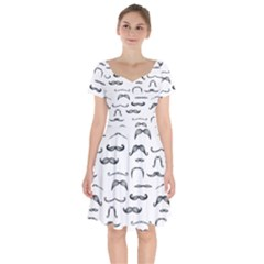 Mustache Man Black Hair Short Sleeve Bardot Dress by Mariart