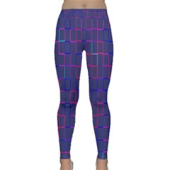 Grid Lines Square Pink Cyan Purple Blue Squares Lines Plaid Classic Yoga Leggings by Mariart