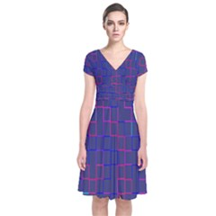 Grid Lines Square Pink Cyan Purple Blue Squares Lines Plaid Short Sleeve Front Wrap Dress by Mariart