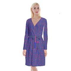 Grid Lines Square Pink Cyan Purple Blue Squares Lines Plaid Long Sleeve Velvet Front Wrap Dress by Mariart