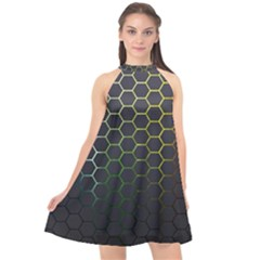 Hexagons Honeycomb Halter Neckline Chiffon Dress