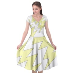 Lightning Yellow Cap Sleeve Wrap Front Dress by Mariart