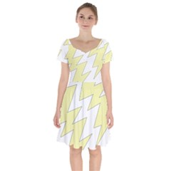 Lightning Yellow Short Sleeve Bardot Dress