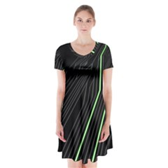 Green Lines Black Anime Arrival Night Light Short Sleeve V Neck Flare Dress by Mariart