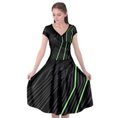 Green Lines Black Anime Arrival Night Light Cap Sleeve Wrap Front Dress by Mariart