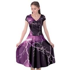 Lightning Pink Sky Rain Purple Light Cap Sleeve Wrap Front Dress by Mariart