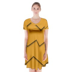 Orange Shades Wave Chevron Line Short Sleeve V Neck Flare Dress by Mariart