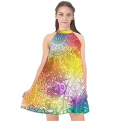 Multi Colour Alpha Halter Neckline Chiffon Dress