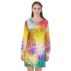 Multi Colour Alpha Long Sleeve Chiffon Shift Dress  by Mariart