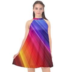 Multicolor Light Beam Line Rainbow Red Blue Orange Gold Purple Pink Halter Neckline Chiffon Dress