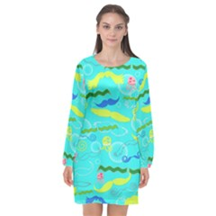Mustache Jellyfish Blue Water Sea Beack Swim Blue Long Sleeve Chiffon Shift Dress  by Mariart
