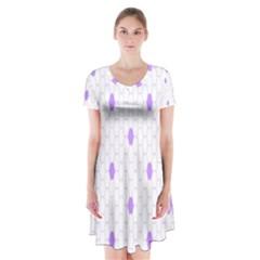 Purple White Hexagon Dots Short Sleeve V Neck Flare Dress by Mariart