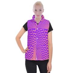 Original Resolution Wave Waves Chevron Pink Purple Women s Button Up Puffer Vest by Mariart