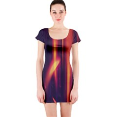 Perfection Graphic Colorful Lines Short Sleeve Bodycon Dress by Mariart