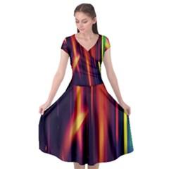 Perfection Graphic Colorful Lines Cap Sleeve Wrap Front Dress by Mariart