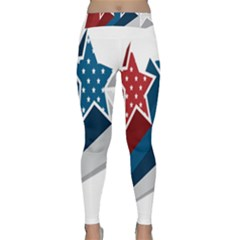 Star Red Blue White Line Space Classic Yoga Leggings by Mariart