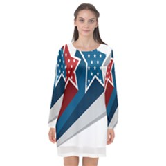 Star Red Blue White Line Space Long Sleeve Chiffon Shift Dress