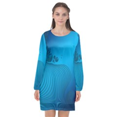 Fractals Lines Wave Pattern Long Sleeve Chiffon Shift Dress  by Nexatart