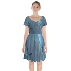 Feather Plumage Blue Parrot Short Sleeve Bardot Dress by Nexatart
