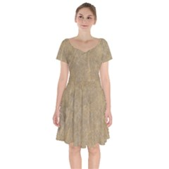 Abstract Forest Trees Age Aging Short Sleeve Bardot Dress