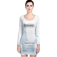 Winter Snow Trees Forest Long Sleeve Bodycon Dress